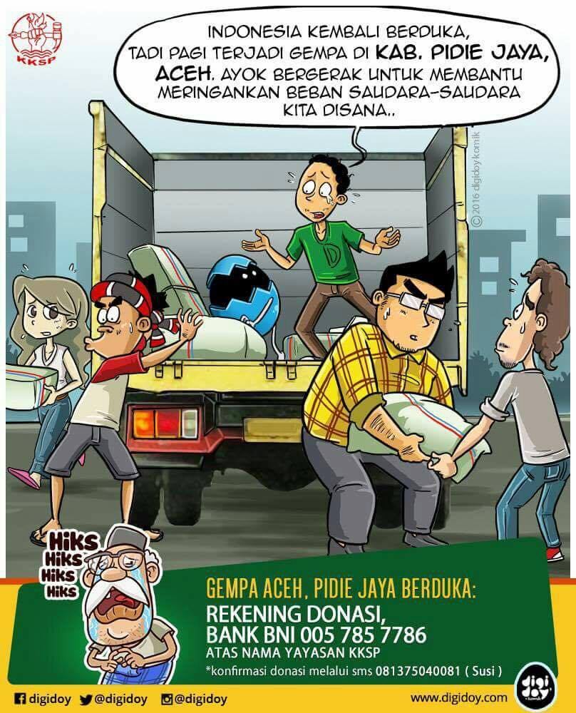 Cartoon from KKSP about supporting the community after the earthquake and how to donate